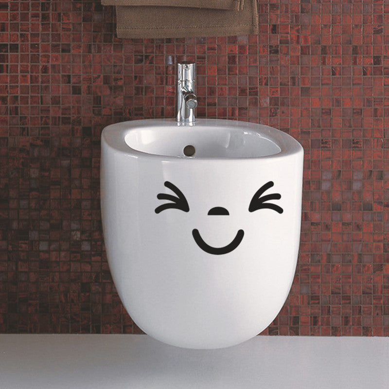 Smiling Toliet Sticker Funny Vinyl Wall Stickers WC Home Decorative Bathroom Waterproof Decal Mual Art Posters Paper Wall Decals
