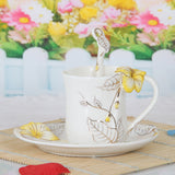 Exquisite Porcelain enamel morning glory coffee mug set (1 cup 1 saucer 1 spoon ) ceramic cups