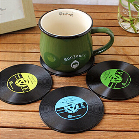Hot Sale 4Pcs Vinyl Coaster Retro Vinyl CD Record Cups Drinks Holder Mat Tableware Placemat For Bar Home Cup Accessories