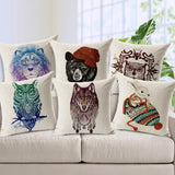 Colorful Hand Painted Animal Print Pillows