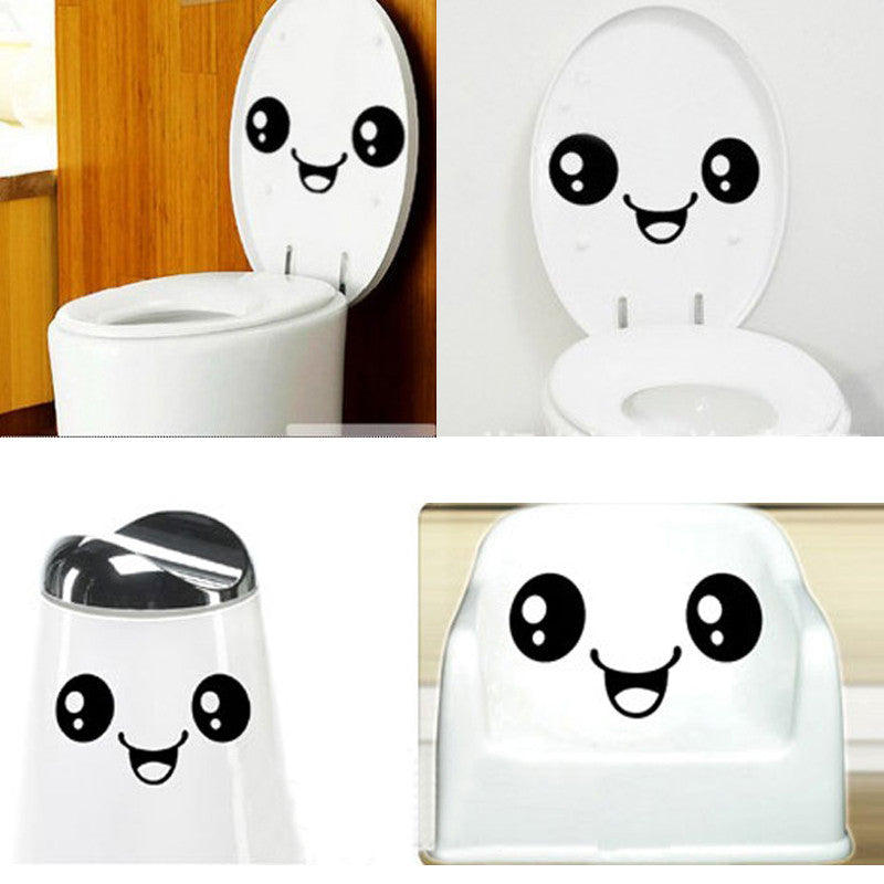 Cute smiling face toilet stickers wall decals home decoration DIY removable vinyl wall stickers