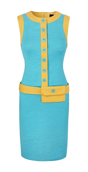 The Ophelia - Aqua & Yellow - 60s MOD