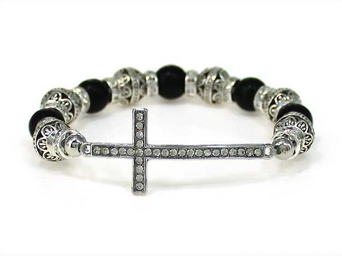 Cross Multi Bead Stretch Bracelet (Black)