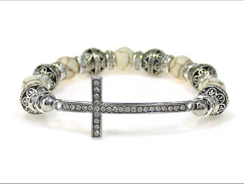 Cross Multi Bead Stretch Bracelet (White)