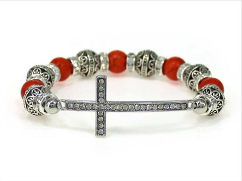 Cross Multi Bead Stretch Bracelet (Coral Orange)