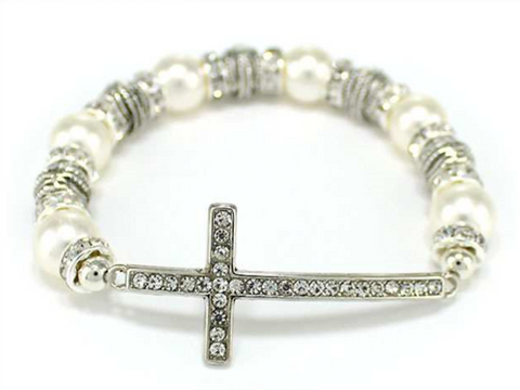 Cross With Pearls Stretch Bracelet-PRL