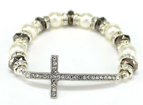 Cross with Pearls Stretch Bracelet-CRM