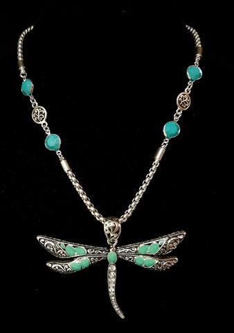 Dragonfly Necklace with Stones