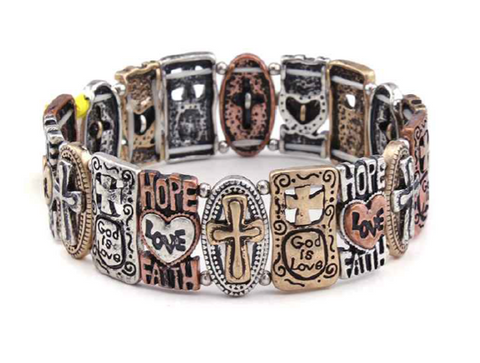 Hope, Love, Faith Stretch Bracelet-0440