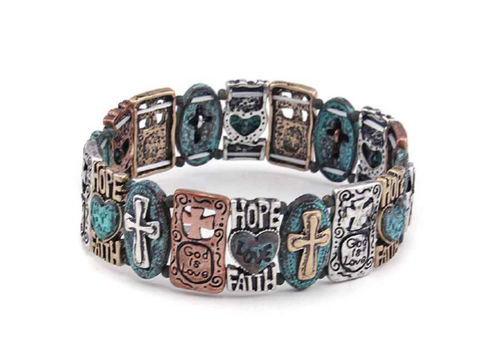 Love,Hope,Faith Stretch Bracelet