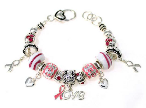 Love Pink Ribbon Multi Bead Bracelet