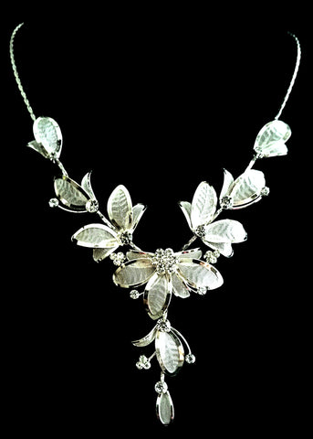 Clear Crystal Flower Necklace