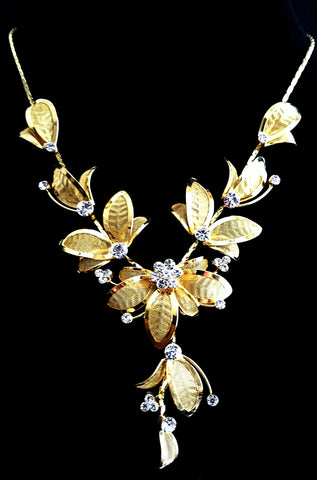 Clear Crystal Gold Plated Flower Necklace