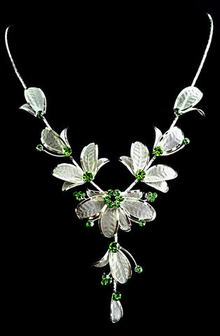 Green Crytal Flower Necklace