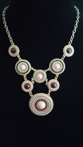 Multi Circle Necklace Drk Brwn-Crm