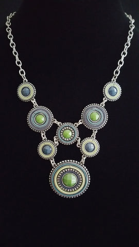 Multi Circle Necklace Grn-Drk Bl