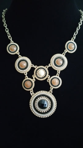 Multi Circles Necklace Blk-Brwn