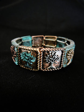 Twisted Frame Tree of Life Stretch Bracelet
