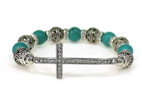 Cross Multi Bead Stretch Bracelet (Turquoise)