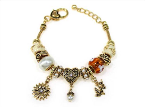 Flower Theme Multi Bead Bracelet (Prl-51)