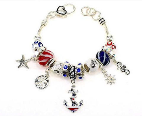 Sealife, Nautical Multi Bead Bracelet Silver