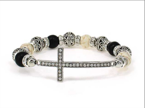 Cross Multi Bead Stretch Bracelet (Black and White)