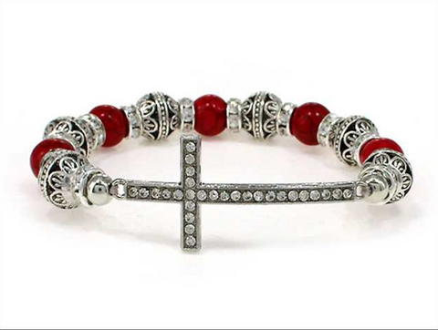 Cross Multi Bead Stretch  Bracelet (Red)