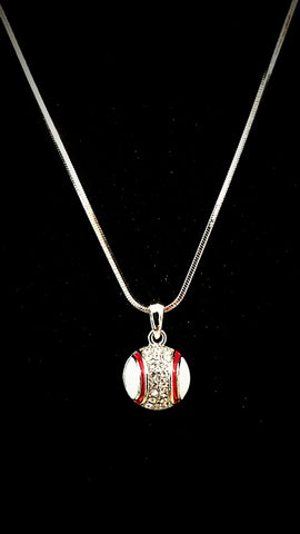 Baseball Crystal Necklace
