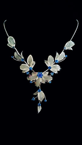 Blue Crystal Flower Necklace