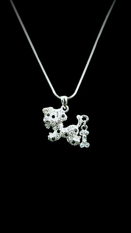Doggy with Wiggly Bone on Tail Crystal Necklace