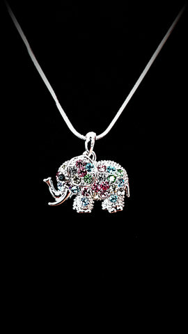 Elephant Multi Color Crystal Necklace