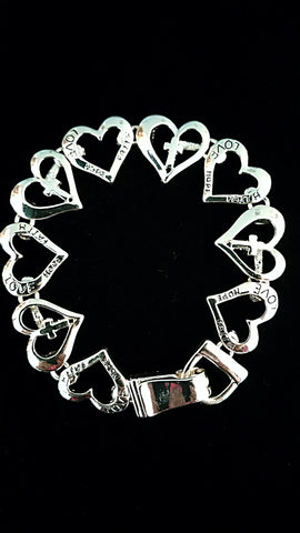 Love, Hope, Faith Heart Bracelet