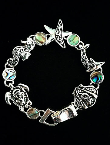 Sealife Animals Silver Tone Bracelet