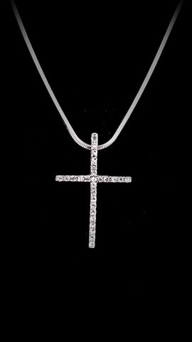 Thin Cross Crystal Necklace