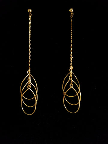 Three Drop Gold Earrings