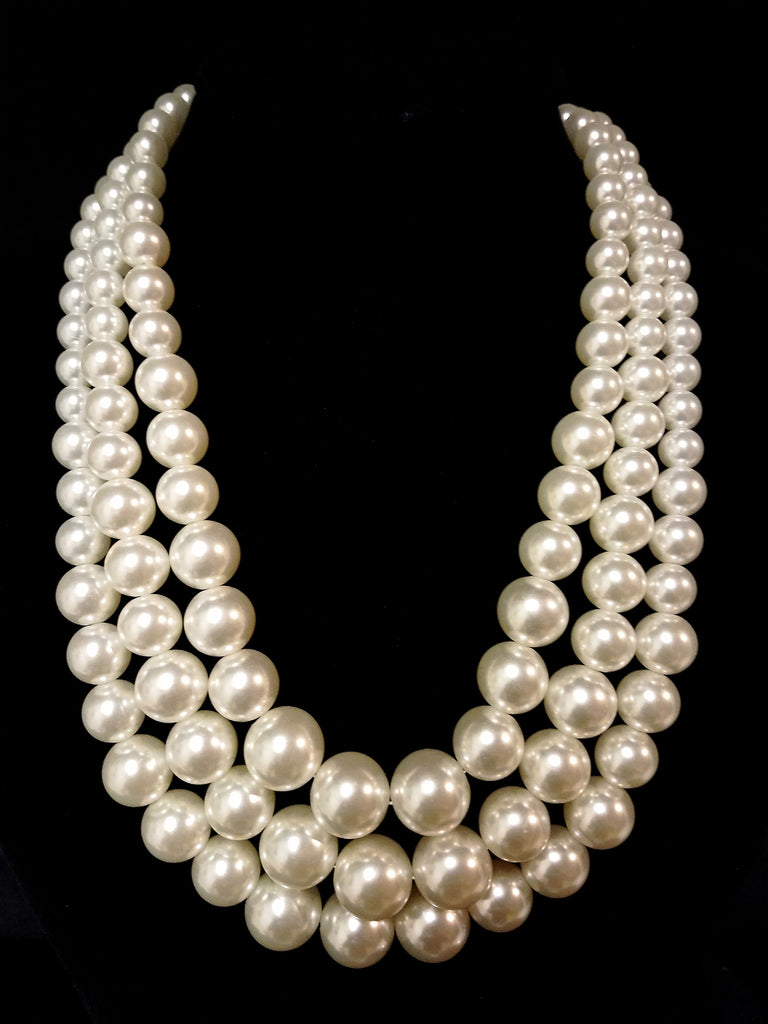 bead necklace the factory collections row fashion pearl necklaces three