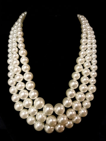 Three Row Pearl Necklace The Bead Factory