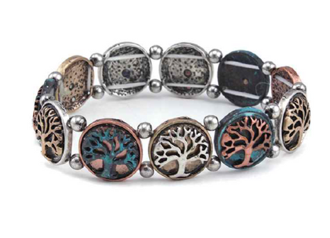 Circle Frame Tree of Life Stretch Bracelet