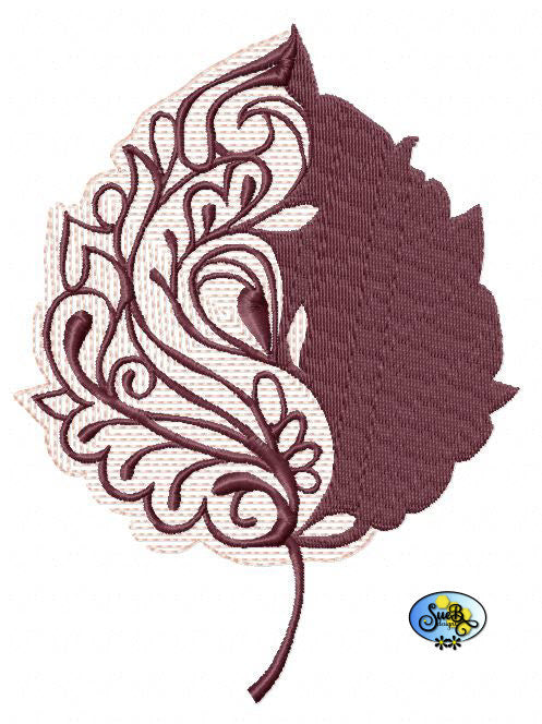 Filagree Leaf Embroidery Design