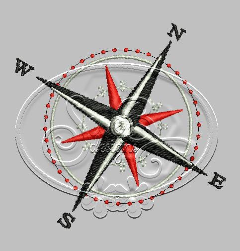 Compass Rose Embroidery Design
