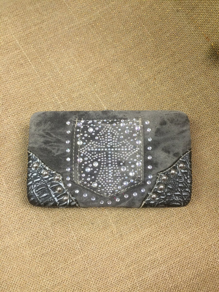 Grey Denim Cross Wallet