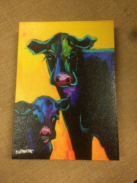 Mama & Baby Angus Cow Canvas