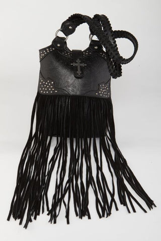 Gypsy Soule Black Leather Fringe Purse