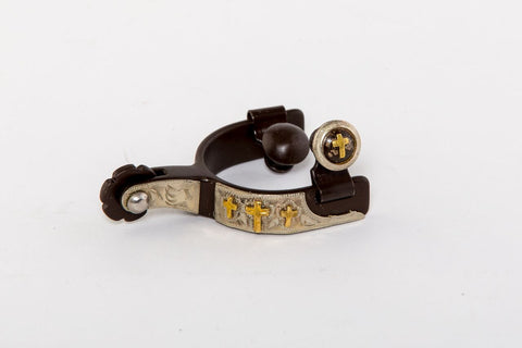Toddler Spurs Engraved and Cross Conchos