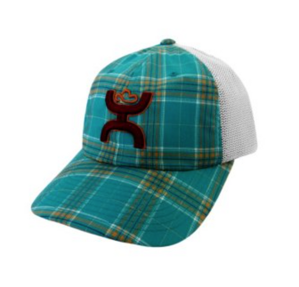 HOOey Hat Womens Trucker Comfort Cap Plaid One Size Turquoise