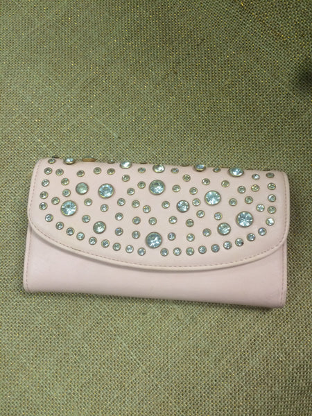 Soft Pink Wallet with Rhinestones