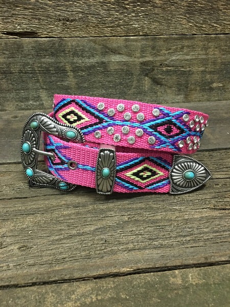Pink Aztec Stitched Bling Belt