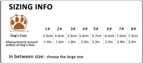 size guide for dog shoes