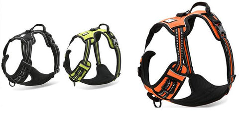 our range of refelctive dog harnesses with handle