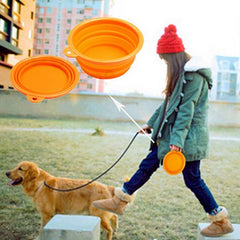 girl walking with collapsible dog bowl